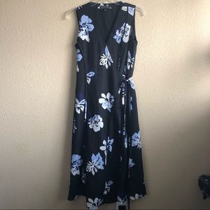 Banana Republic Black Blue Floral Wrap Dress